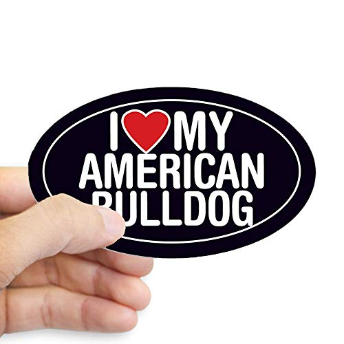 CafePress I Love My American Bulldog Oval Sticker/Decal Oval Bumper Sticker, Euro Oval Car Decal ()