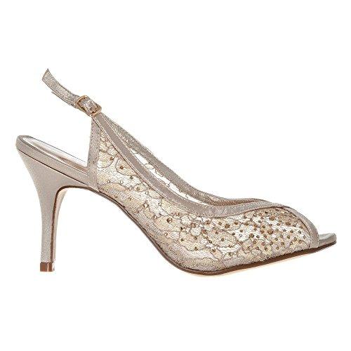 Womens Ladies Medium Heel Open Toe Sling Back Shoe Mesh Finished Champagne uE44bhs