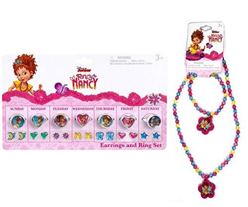 Fancy Nancy Dress Up & Pretend Play Beauty & Fashion Jewelry Day of The Week Earrings, Rings with Necklace & Bracelet Set (Purple) ()