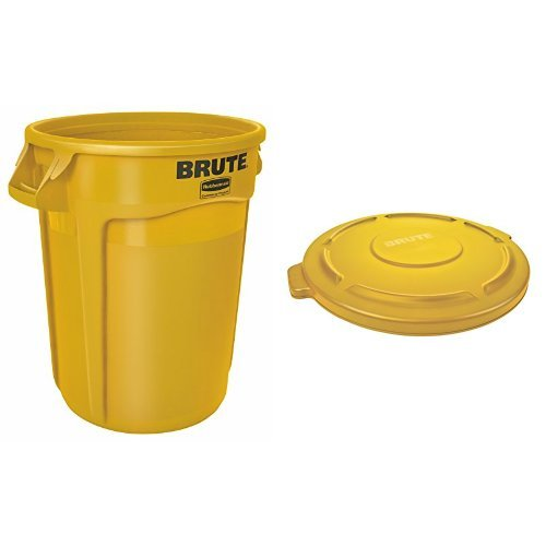 Rubbermaid Commercial BRUTE Trash Can, Vented, 32 Gallon, Yellow with Lid (FG263200YEL & FG263100YEL) by