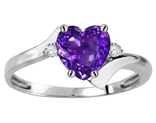 - Star K Heart Shape 6mm Genuine Amethyst bypass Ring 10 kt White Gold Size 8.5