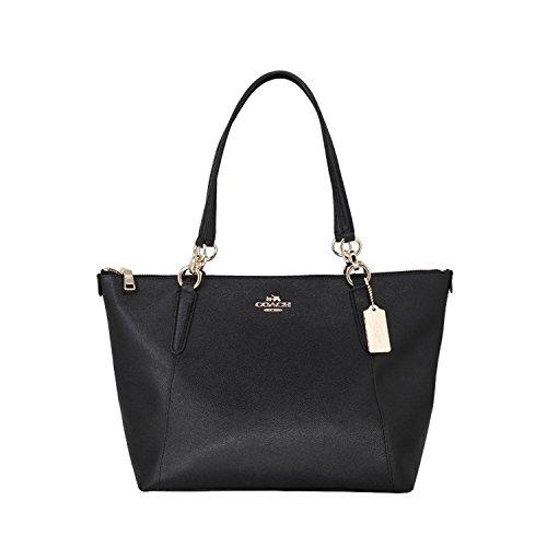 Coach AVA Leather Shopper Tote Bag Handbag(Black)