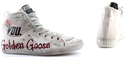 Zapatos Hombres Sneakers Alta GOLDEN GOOSE Francy Cream Canvas Glitter Memory IT