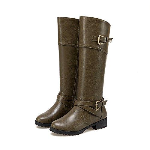 Wonvatu Kniehohe Stiefel für Damen Seitliche Zip-Leder-flache Reitstiefel mit Schnallenriemen Grün