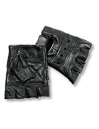 Interstate Leather Men's Basic Fingerless Gloves (Black, Medium)