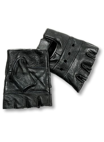 Black Leather Biker Gloves - 1