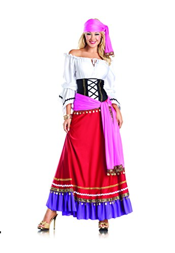 Be Wicked Tempting Gypsy Costume, Red/White/Purple/Black, Medium/Large ()