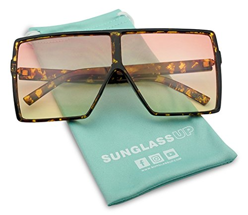 Big XL Large Oversized Super Flat Top Square Two Tone Color Fashion Sunglasses (Tortoise / Orange Yellow Lens, - Fashion Big Sunglasses
