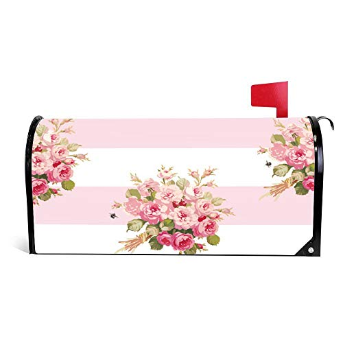 Yilooom Janes Rose Bouquet Peony Stripe Mailbox Cover Magnetic Mail Box Wrap Yard Garden Decor 17.25 X 20.75 Inches