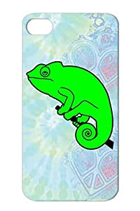 Anti-scratch Chamaeleon Simple Reptile Photography Fun Lazy Art Design Slow Zoo Animal Funny Nature Case For Iphone 4s Green