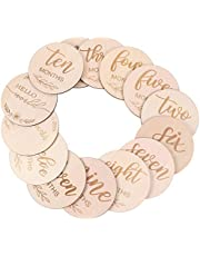 TOYANDONA 14 Pcs Wooden Baby Monthly Milestone Cards Double Sided Discs from Newborn to 1 Year Baby Photography Props Baby Shower Gifts
