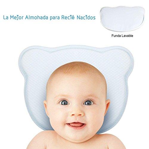 TR.OD Almohada Bebé para Plagiocefalia con Funda Lavable Almohada para Bebé Recien Nacido 0~12 Meses paraPrevenir la...