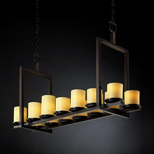 (Justice Design CNDL-8769-10-AMBR-DBRZ, CandleAria Dakota Chandelier Lighting, 14LT, 840w, Bronze)