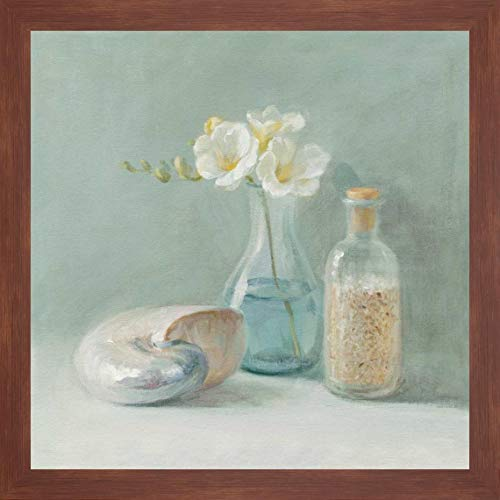 "Freesia Spa by Danhui NAI - 24"" x 24"" Framed Giclee Canvas Art Print Walnut Finish - Ready to Hang"