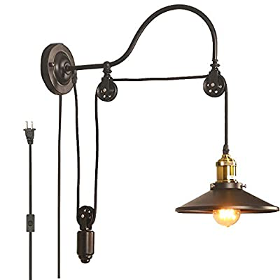 kiven Retro Pulley Wall lamp Plug in ul Listed 6 Foot Black Cord Telescopic Iron Wall lamp Bulb Included(BD0298)