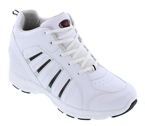 Calden - K33291 - 3,8 Pollici Più Alto - Scarpe Con Rialzo Alte Laltezza (scarpe Stringate Bianche Da Tennis)