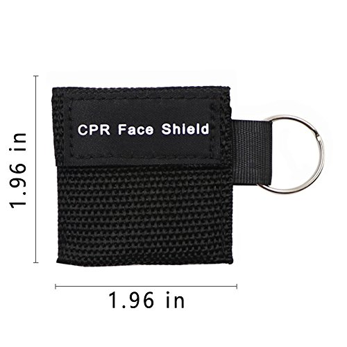 20pcs CPR Face Shield Mask Keychain Ring Emergency Kit CPR Face Shields for First Aid or CPR Training (Black-20)