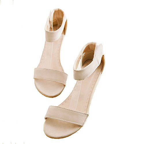 LongFengMa Women's Sweet Ankle Strap Sandals Wedge Heels Velcro Closure Beige 4uP08qe