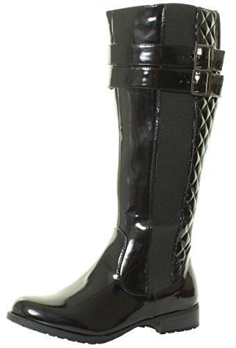 HAT1 NEU Damen-Frauen KNIEHOHE flach Absatzhöhe schwarzem Lackleder gesteppten biker Reitstiefel TILLY LONDON Stiefel Größen 36 37 38 39 40 41 Schwarzem Lackleder