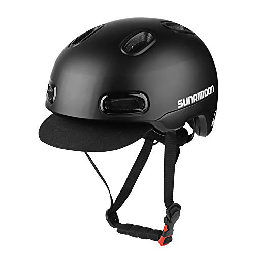 SUNRIMOON Commuter Bike Helmet - Anti-Theft Design USB Safety Taillight Detachable/Adjustable Soft Hat Retro Sleek Urban Leisure Road Bicycle Cycling Helmet for Adult Men/Women - Black