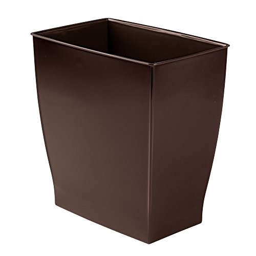 mDesign Rectangular Trash Can Wastebasket, Small Garbage Con