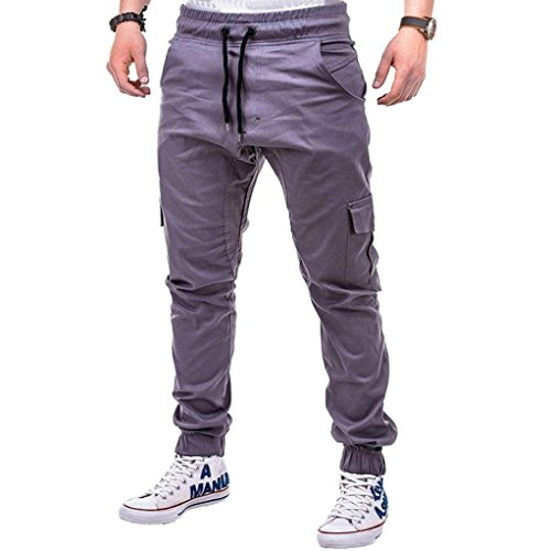HTHJSCO Men's Jogger Pants - Casual Straight Tapered Trousers with Elastic Waist, Casual Loose Sweatpants Drawstring Pant (Gray, XXXXL) by HTHJSCO