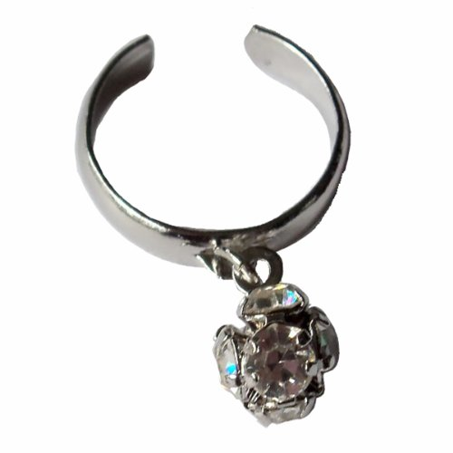 V G S Eternity Fashions Fashion Jewelry ~ Silvertone Round Ball with Clear Crystals Adjustable Toe Ring (Style Toe Ring 012a)