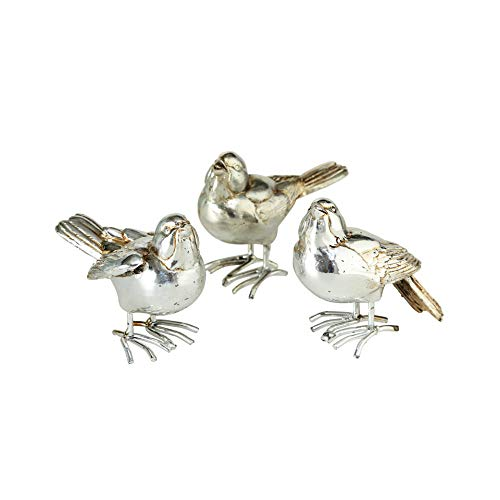 - WHW Whole House Worlds Silver Song Bird Figurines, Set of 3, Radiant and Reflective Polished Finish, Detailed, Hand Cast Poly Resin, 3 L x 2 3/4 W x 1 1/4 H Inches