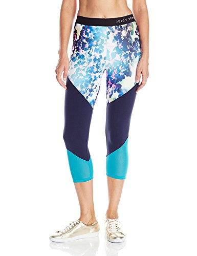 寄生虫ペインネストJuicy Couture BLACK LABEL Women's Glow Color Block Capri Legging Floral Glow Regal Nordic L [並行輸入品]