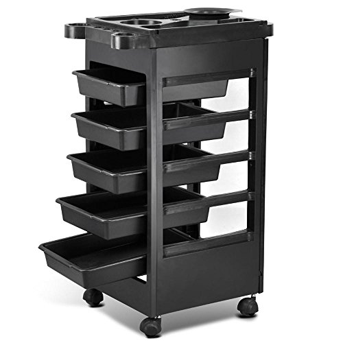 Yaheetech Hair Salon Rolling Trolley Storage 5-Drawer Hairdresser Beauty Workstation Cart on Wheels Black