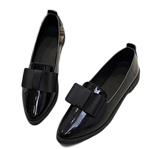 Btrada Womens Casual Bowknot Flat Point Toe Work Oxfords Loafers Shoes Black 0VGlxGss