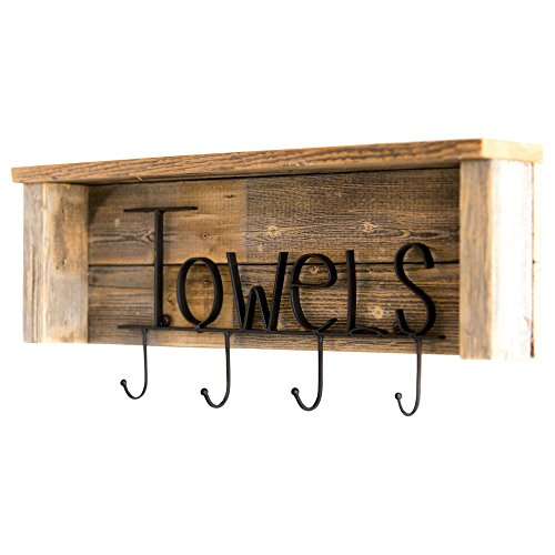 - Drakestone Designs Wood Bathroom Towel Rack Hooks 24 Inch | Wall Mount | Handmade Rustic Reclaimed Wood - Natural