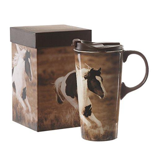 17 oz Ceramic Travel Mug with Handle and Lid,Dishwasher and Microwave (Horse Travel Mugs)