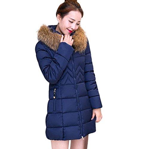 Byste Winter Warm Womens Jacket Cotton Coat Parka Thicker Outwear, Long Fur Collar Hooded Topcoat,Plus Size M-4XL Lady Female Blue