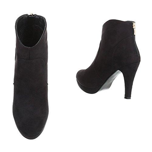 Ital-Design High Heel Stiefeletten Damenschuhe High Heel Stiefeletten Pfennig-/Stilettoabsatz High Heels Reißverschluss Stiefeletten Schwarz B2900-PB