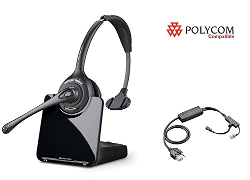 Polycom Compatible Plantronics CS510 VoIP Wireless Headset Bundle with Electronic Remote Answer|End and Ring alert (EHS) for SoundPoint® Phones: IP 335 430 450 550 560 650 670 | VVX 300 ()