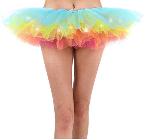 [Women LED Light Up Tutu Skirt 5 Layered Tutu Party Skirts for Girls By YYKIT (RAINBOW)] (Rainbow Fairy Rave Dress)