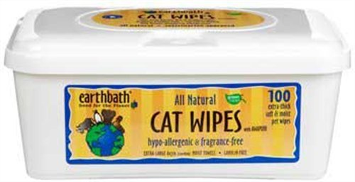 Earthbath All Natural Hypo-Allergenic and Fragrance-Free Cat Wipes, 100 Wipes, My Pet Supplies