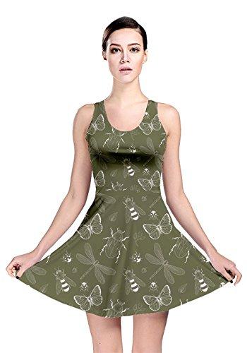 Verde Reversibili Womens Oliva Modello Cowcow Pattinatore Insetto Vestito SqIAZwIY