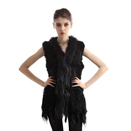 Genuine Rabbit Fur Vest (OLLEBOBO Women's Genuine Rabbit Fur Knitted Vest with Warm Collar Size XL Black)