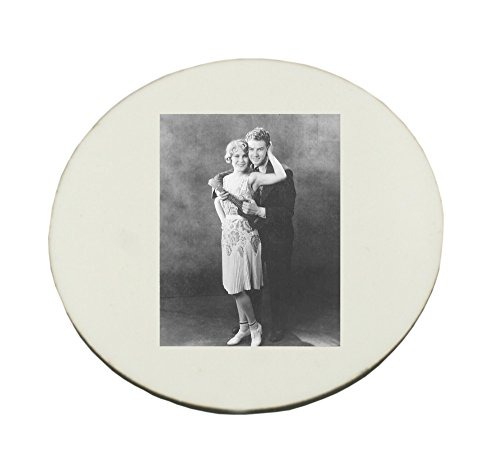 Smiling Portrait (Circle Mousepad with Couple are embracing each other. people, man, women, couple, heteroseksual couple, guitar, playing, smiling, portrait, enjoyment,)