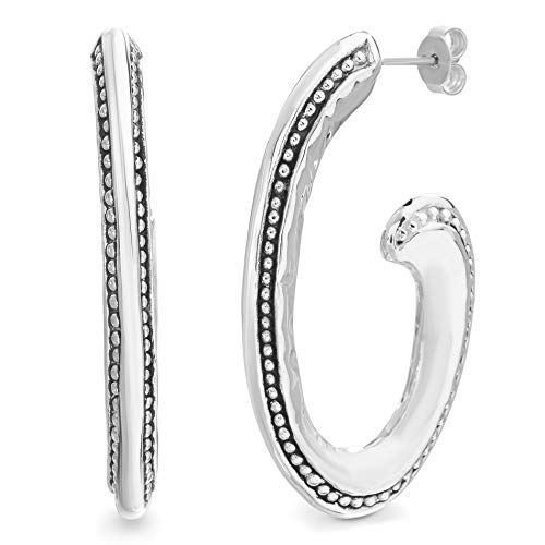 WILLOWBIRD Polished Beaded Textured Tribal Swirl Hoop Earrings for Women in Oxidized 925 Sterling Silver