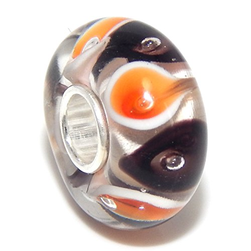 Pro Jewelry 925 Solid Sterling Silver White Background with Black and Orange Tear Drops Glass Charm (Pandora The Witch Costume)