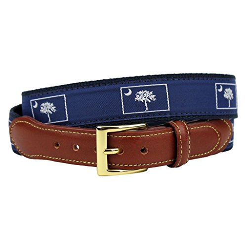Carolina Mens Leather - South Carolina Leather Tab Belt in Navy on Navy Canvas by Country Club Prep