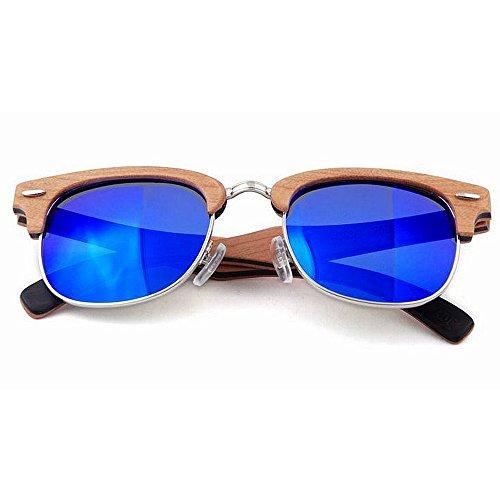 Rouge quotid en Lunettes Polyvalent Rimless à Soleil Couleur Convient pour pour la de et Protection Gububi Hommes Bleu Semi Une Bois lentille extérieure Main Femmes UV Couleur Utilisation xSqIFww