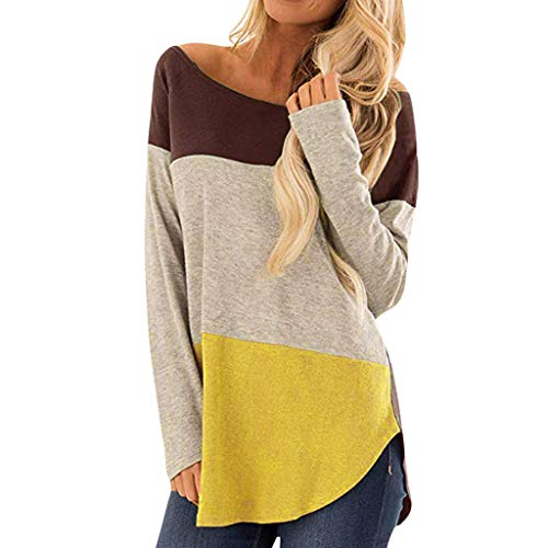 Striped Stitching Casual T-shirt Womens Tie Pullover Long Sleeve Tops
