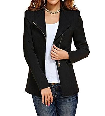 Women's Autumn Oversize Slim Fit Bodycon Zipper Suit Coat Jacket Blazer Outwear