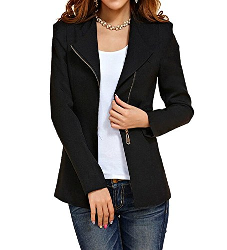 (Aro Lora Women's Autumn Oversize Slim Fit Bodycon Zipper Suit Coat Jacket Blazer Outwear US 4-6 Black)