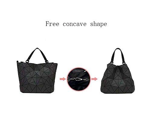 Géométrique à PU Sacs main bandoulière poignée fonctionnelle Top à Sac Pocket Design Sac Sac Lumineux Femmes Mesdames Crossbody Besace Noir Multi txz4UqIxw