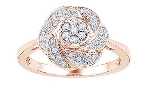 (Jewel Zone US White Natural Diamond Flower Shaped Ring in 10K Rose Gold (0.2 Cttw))